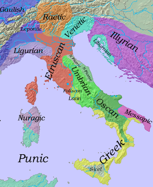 Socii - Linguistic map of Italy in the 6th century BC. Gallic tribes (in dark blue) had already colonised the region of Piedmont. By 400 BC, they had overrun much of the rest of the Po plain in the North, and Gaulish dialects had displaced Lepontic, Raetic, Etruscan and N. Picene in that region. Raetic survived in the Alps. Note the tiny area occupied by the original Latins
