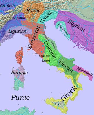 Falisci - Map of early Italic languages.