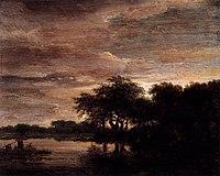 Jacob Isaacksz. van Ruisdael - Woodland Scene with Lake - WGA20499.jpg