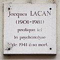 Jacques Lacan plaque - 5 rue de Lille, Paris 7.jpg