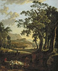 Italianate Landscape by Evening with Dancing Couple