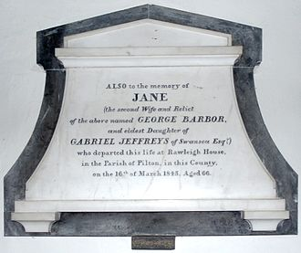 Manor of Raleigh, Pilton - Mural monument in Fremington Church to Mrs Jane Barbor (1779–1845), widow of George Barbor (1756–1817) of Fremington House