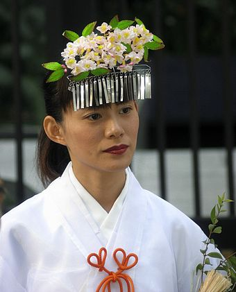 A Japanese-Brazilian Miko during a festival in Curitiba Japanese Brazilian Miko Curitiba Parana.jpg
