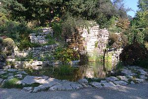 Musée et jardins botaniques cantonaux - Cliff made of strata of rock and a cascade designed by Alphonse Laverrière.