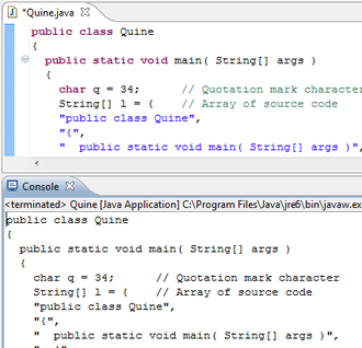 Quine (computing) - A quine's output is exactly the same as its source code.