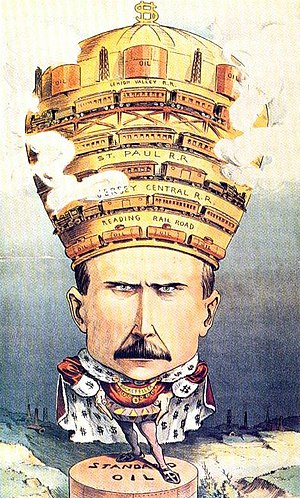Robber baron (industrialist) - 1901 US cartoon from Puck depicting John D. Rockefeller as a powerful monarch.