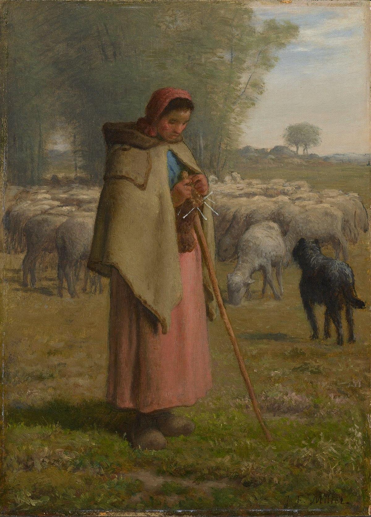 File:Jean-François Millet - Jeune fille gardant ses moutons (1860 ...