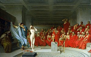 Phryne before the Areopagus - Image: Jean Léon Gérôme, Phryne revealed before the Areopagus (1861) 01