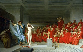 Hetaira - Jean-Léon Gérôme's painting Phryne Revealed Before the Areopagus depicts the hetaira Phryne on trial.  The sight of her nude body, according to legend, persuaded the jurors to acquit her.