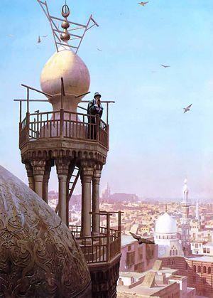 Mu'adhin - Jean-Léon Gérôme. A Muezzin Calling from the Top of a Minaret the Faithful to Prayer (1879)