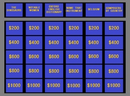 The Layout Of Jeopardy Board Since November 26 2001 Showing Dollar Values Used In First Round