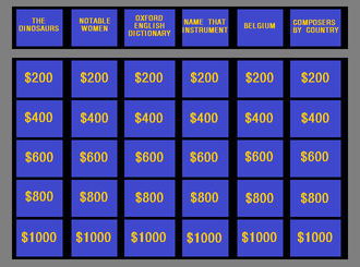 Jeopardy! - The layout of the Jeopardy! game board since November 26, 2001, showing the dollar values used in the first round