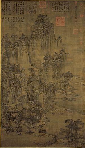 Jing Hao - Mount Lu; hanging scroll, ink on silk; National Palace Museum, Taipei, Taiwan