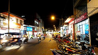 Iquitos - A block of Jiron Prospero, one of the four major avenues of the city with shops along its length.