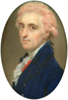 Colonel James Hamilton by John Smart (1784), wearing a white wig powdered with pink-coloured powder