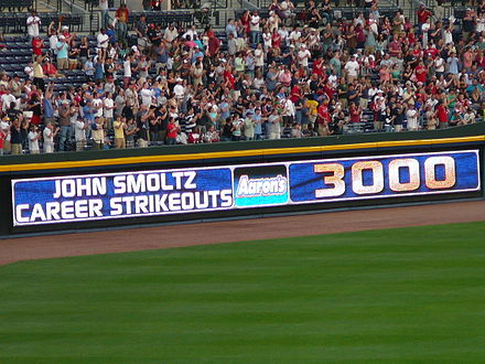 An electronic banner announcing the milestone achievement of John Smoltz recording his 3000th strikeout during a game in April 2008 John Smoltz 3000 strikeouts.jpg