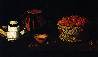 Still Life with a Basket of Cherries, Cheese and Clay Jars