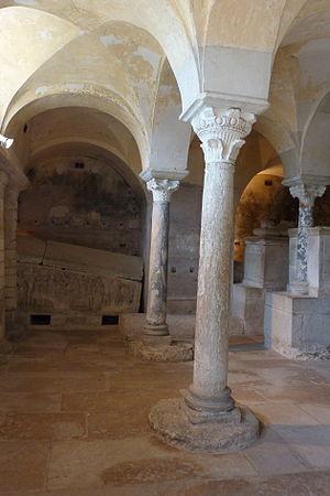 Jouarre Abbey - Crypt and sarcophagi