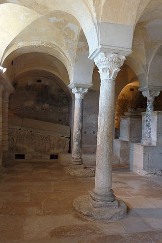 Jouarre Abbey - Crypt and sarcophagi