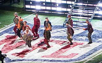 Super Bowl LII halftime show - Timberlake with dancers during the halftime performance