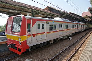Tokyo Metro 6000 series - Set 6115 (with smaller passenger windows) operated by Kereta Commuter Indonesia in Jakarta in November 2011