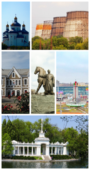 Kryvyi Rih - From upper left: Savior Transfiguration Cathedral, ArcelorMittal, Kryvyi Rih Main Station, Maksyma Hor'koho Square, Saksahan boat station