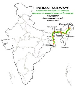 Kamrup Express (Dibrugarh - Howrah) Route map.jpg