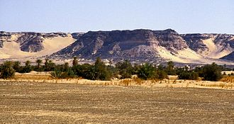 Niger - The Kaouar escarpment, forming an oasis in the Ténéré desert.