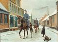 Karl Hansen Reistrup - Landsbygade med dragoner og dreng med slæde, vinter - 1918.png