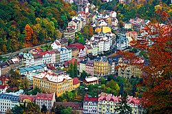 October 1997 bird's-eye view of Karlovy Vary