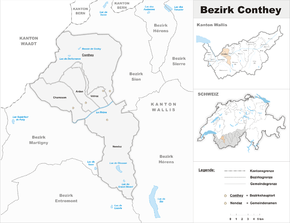 Karte von Bezirk Gundis (frz. District de Conthey)