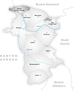 Oetwil an der Limmat - Image: Karte Gemeinde Oetwil an der Limmat