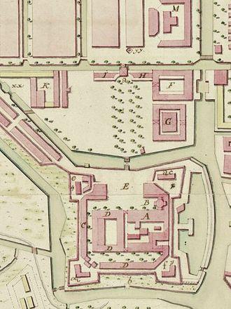 Batavia Castle - Batavia Castle in 1762 when the land-side wall had been opened toward the Kasteelplein.
