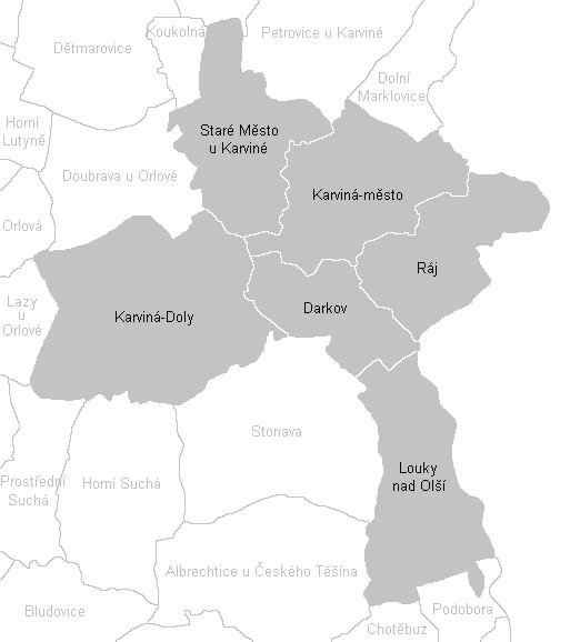 Katastrální mapa Karviné