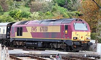 British Rail Class 67 - Image: Kingswear DB Cargo 67030 on the level crossing