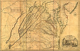 Great Wagon Road - 1751 Fry-Jefferson map depicting the Virginia Colony and surrounding provinces in 1752