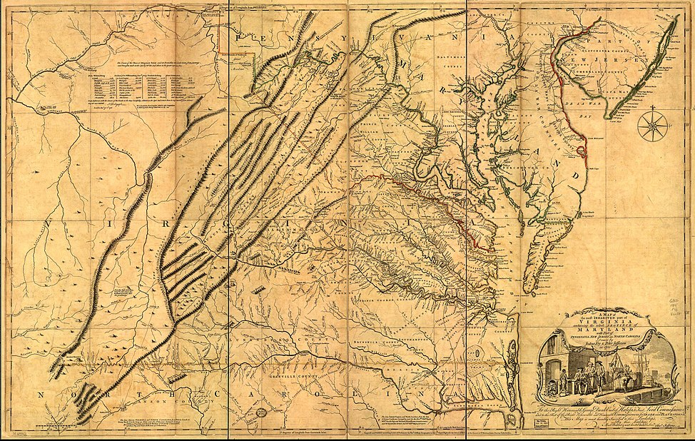 Map drawn by Joshua Fry & Peter Jefferson in 1751