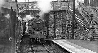 Knighton railway station - Trains meet at Knighton Station in 1962