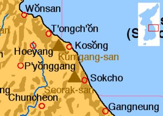 Mount Kumgang - Location of Mount Kumgang.