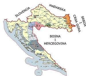 Map of the territorial division of the Srpske vojske Krajine (SVK), 1995.