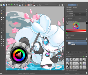 Krita 2.8 screenshot with its mascot Kiki.png