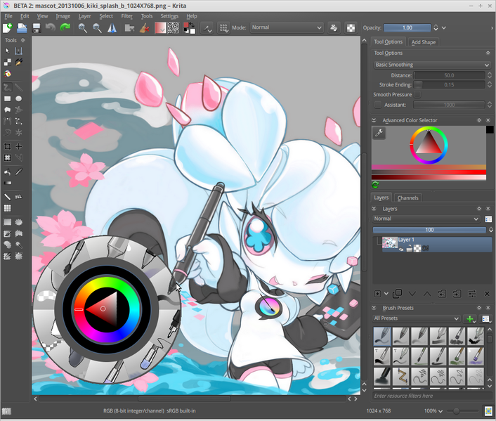 File krita 2 8 screenshot with its mascot Best free drawing software for pc