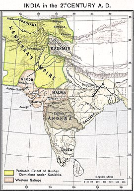 A map of India in the 2nd century CE showing the extent of the Kushan Empire (in yellow) during the reign of Kanishka. Most historians consider the empire to have variously extended as far east as the middle Ganges plain,[1] to Varanasi on the confluence of the Ganges and the Jumna,[2][3] or probably even Pataliputra.[4][5]