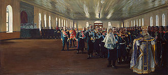 Finland Guard Regiment - Church parade of the Finland Guards Regiment, December 12, 1905 (Julian calendar). Painting by Boris Kustodiev