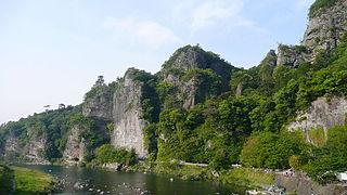 Yabakei valley existing in Nakatsu City, Oita Prefecture, Japan
