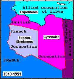 The three regions of Libya during the Allied occupation: Tripolitania and Cyrenaica were British-administered, while Fezzan was French