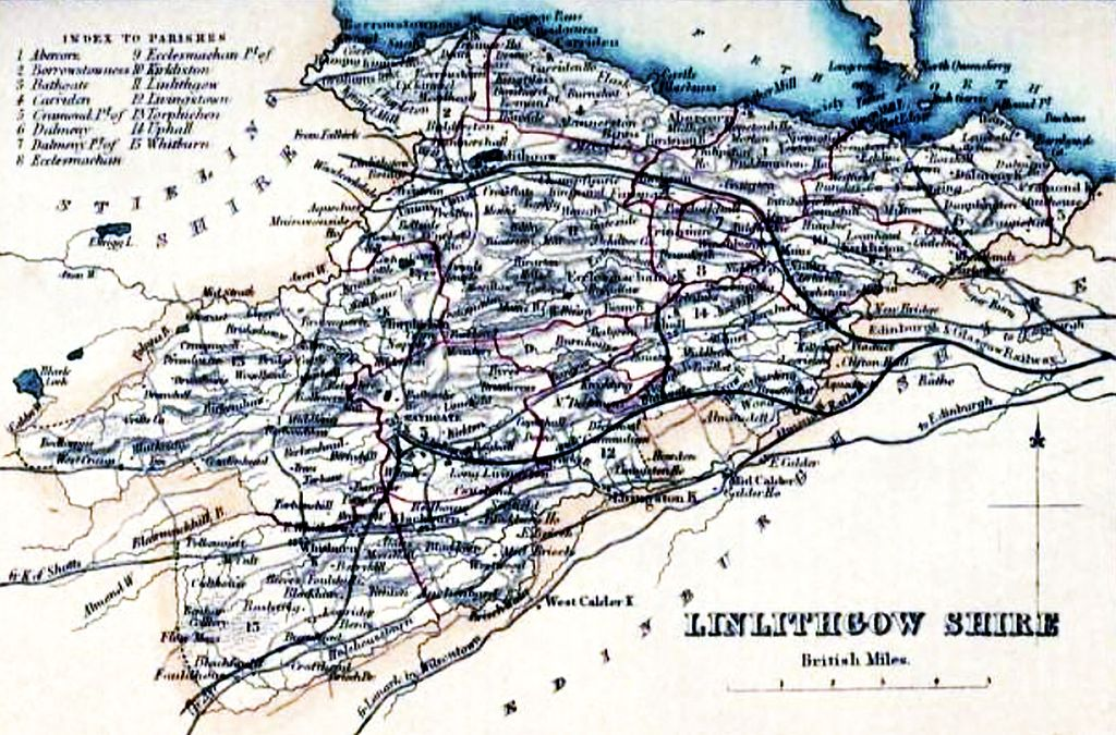 LINLITHGOWSHIRE Civil Parish map