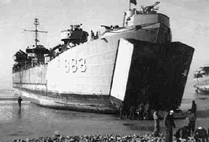 LST-883 beached, at Taeyanpyong, Korea, c. 1953
