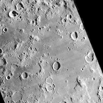 Lacus Excellentiae - Lunar Orbiter 4 image showing approximately the same extent as the Clementine image above.
