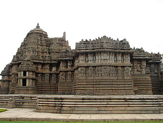 "Lakshminarayana Temple, Hosaholalu - Lakshminarayana temple (1250 C.E.), a Hoysala architectural showpiece, stands on a jagati (""platform"") at Hosaholalu,  Mandya District, Karnataka"